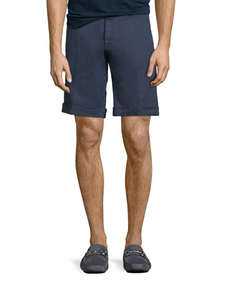 Washed Linen/Cotton Stretch Bermuda Shorts