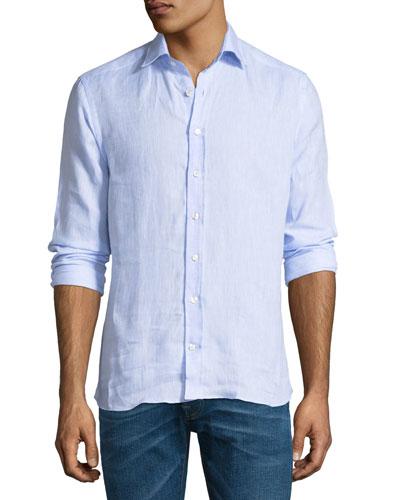 New Warrant Button-Down Linen Shirt, Blue
