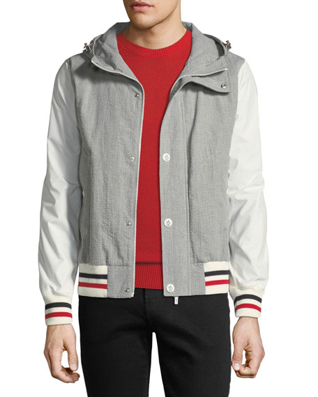 Seersucker Cotton Hooded Jacket
