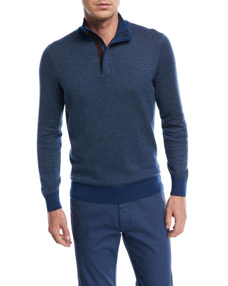 Ermenegildo Zegna Birdseye-Knit Half-Zip Sweater