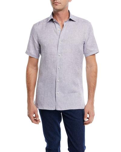 Heathered Linen Short-Sleeve Sport Shirt