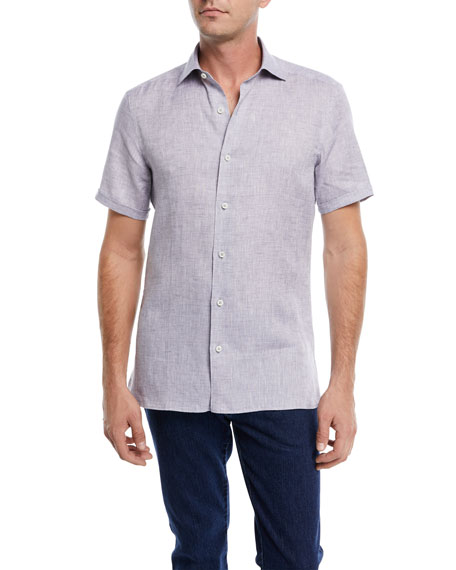 Heathered Linen Short-Sleeve Sport Shirt