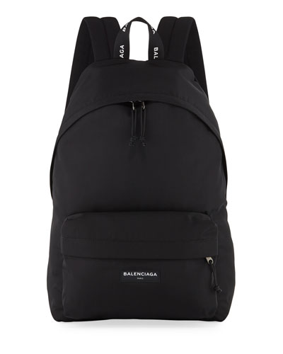 Men's Solid Canvas Backpack, Black/White