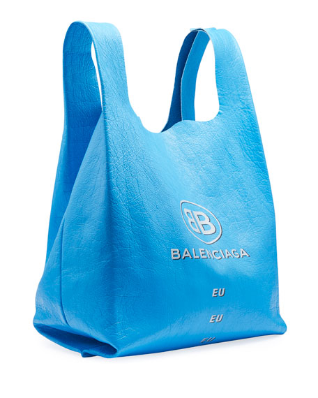 Men's Logo-Print Leather Grocery Tote Bag