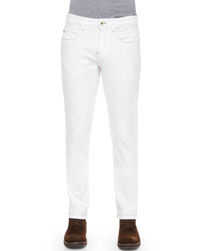 Five-Pocket Slim-Fit Dyed Denim Jeans, White