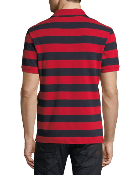 Striped Bee-Embroidered Polo Shirt, Red/Blue