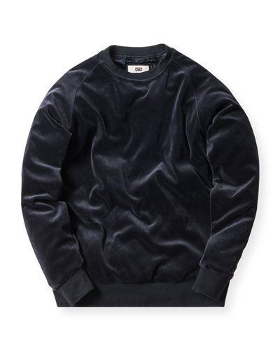 Williams Velour Crewneck Sweatshirt, Navy