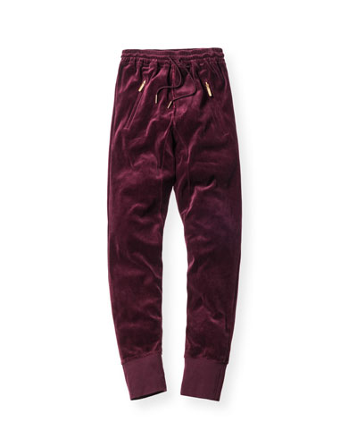 Bleecker Velour Pants, Burgundy