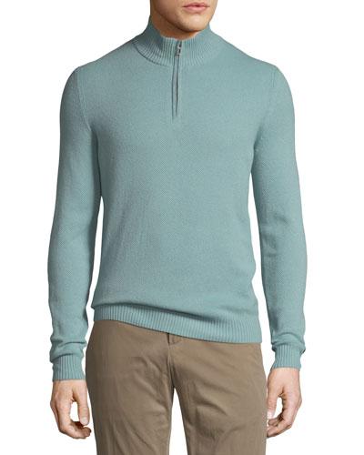 Cashmere Pique Quarter-Zip Sweater