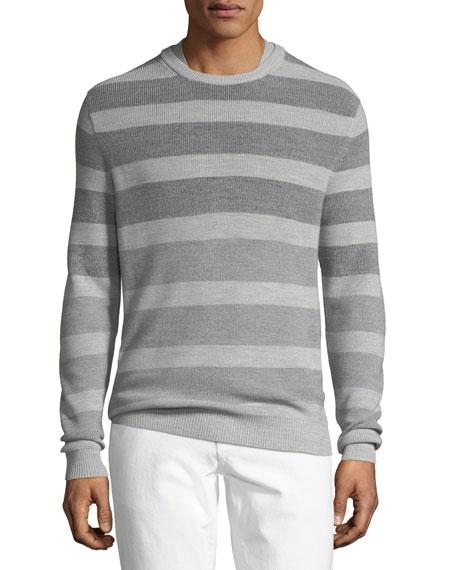 Wool/Silk Striped Crewneck Sweater