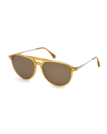 Carlo Acetate-and-Metal Aviator Sunglasses
