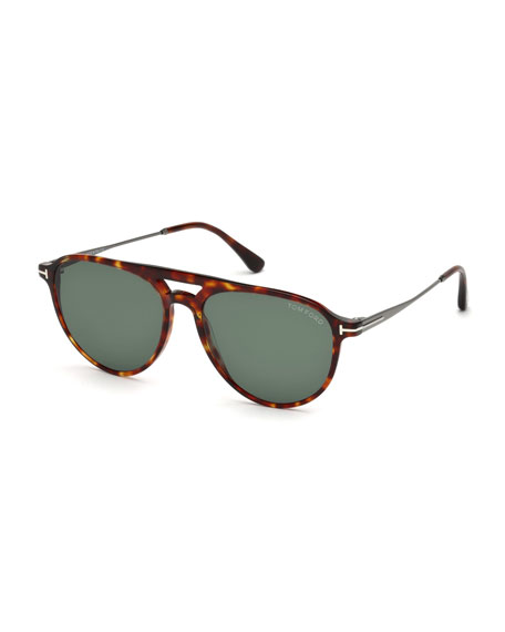 Carlo Acetate-and-Metal Aviator Sunglasses