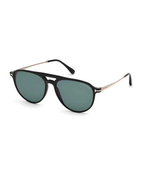 TOM FORD Carlo Acetate-and-Metal Aviator Sunglasses