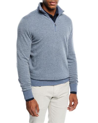 Roadster 1/4-Zip Cashmere Sweater, Aquifer