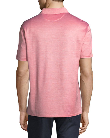 Silk-Blend Polo Shirt, Red