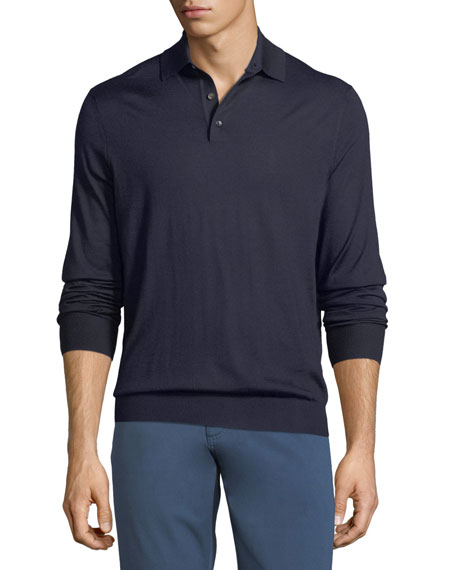 Cashmere-Blend Polo Long-Sleeve Shirt