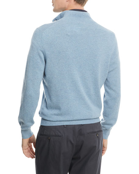 Cashmere Quarter-Zip Sweater with Leather Trim