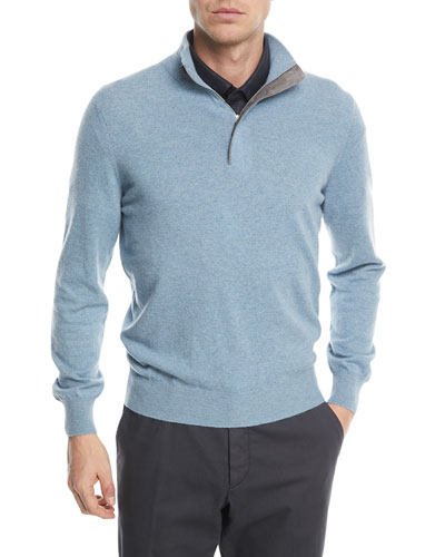 Cashmere Half-Zip Sweater with Leather Trim