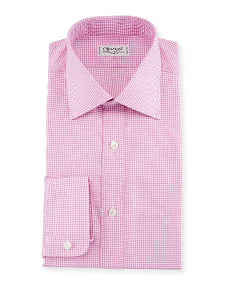 Fine Tattersall Dress Shirt, Pink