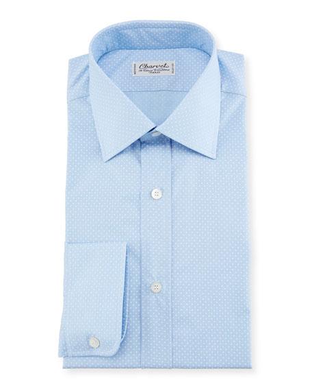 Charvet Small Dot Dress Shirt, Blue