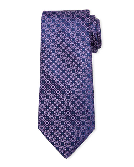 Small Floral Medallion Silk Tie