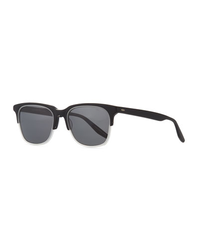 Sergei Two-Tone Matte Acetate Half-Rim Sunglasses