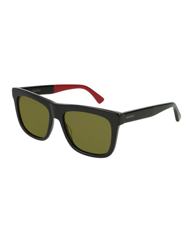 Rectangular Flat-Top Acetate Sunglasses