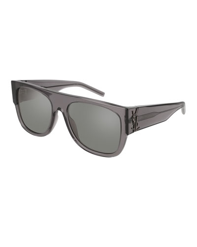 Translucent Acetate Flat-Top Sunglasses