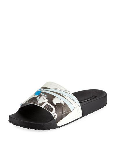 Men's Graphic Rubber Slide Sandal