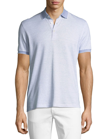 Striped Linen-Blend Polo Shirt, Blue/White
