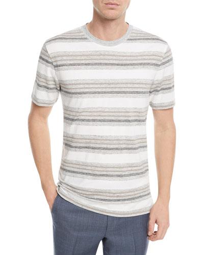 Linen-Blend Textured Stripe T-Shirt
