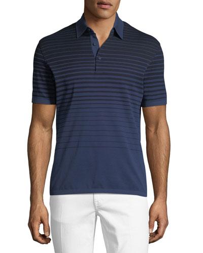 Striped Polo Shirt, Blue/Black