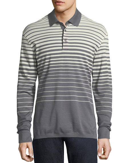Long-Sleeve Striped Polo Shirt