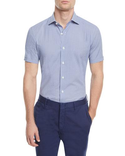 Micro-Print Short-Sleeve Sport Shirt