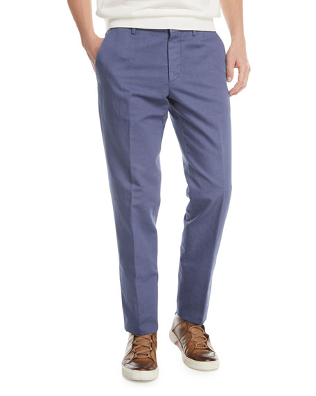Solid Chino Straight-Leg Pants