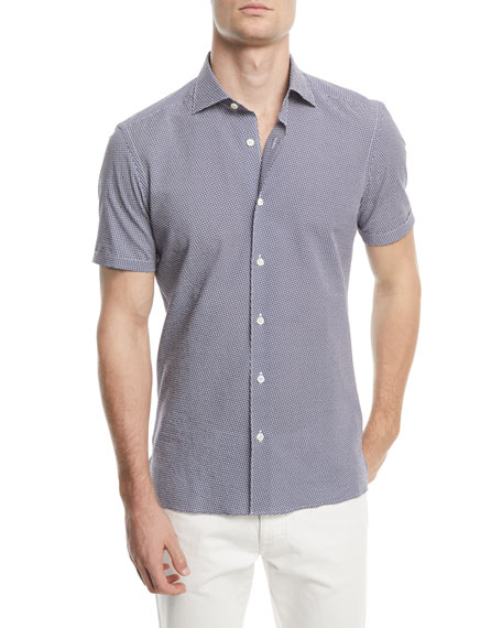 Graphic Seersucker Short-Sleeve Sport Shirt