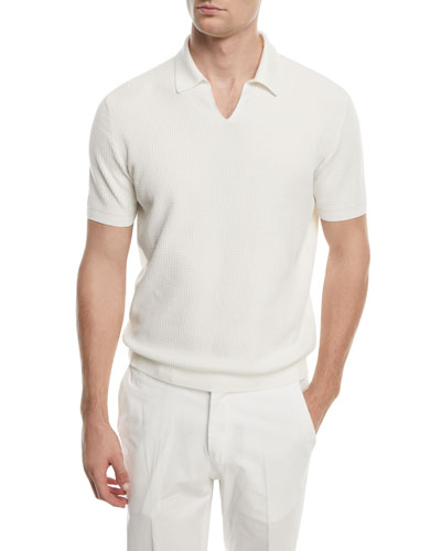 Split-Collar Knit Polo Shirt