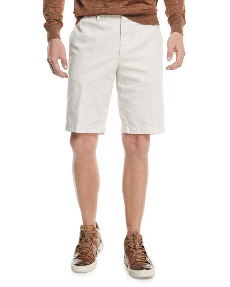 Solid Cotton/Linen Straight-Leg Shorts