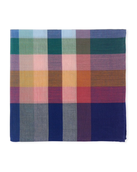 Madras Plaid Cotton Pocket Square