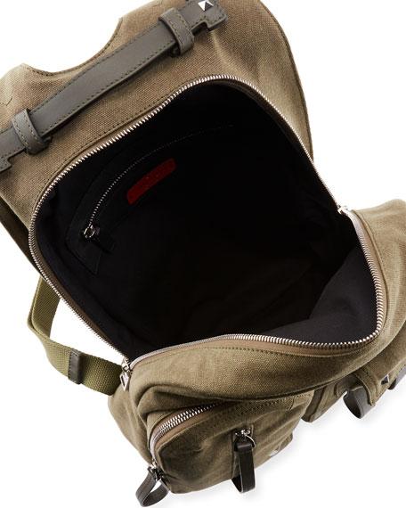 Men's VLTN Logo-Graphic Canvas Backpack