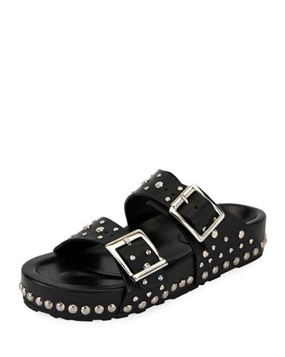 Studded Leather Slide Sandal