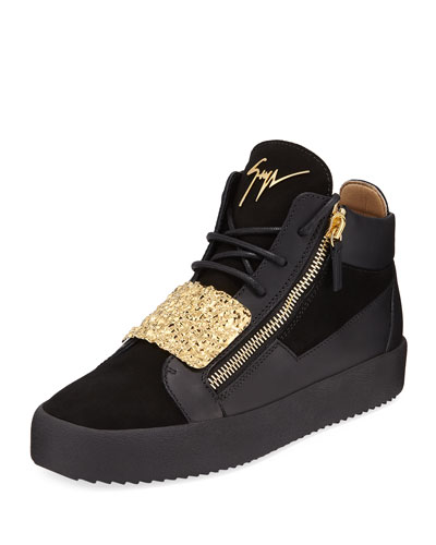 Men's Hammered-Plate Leather Mid-Top Sneakers