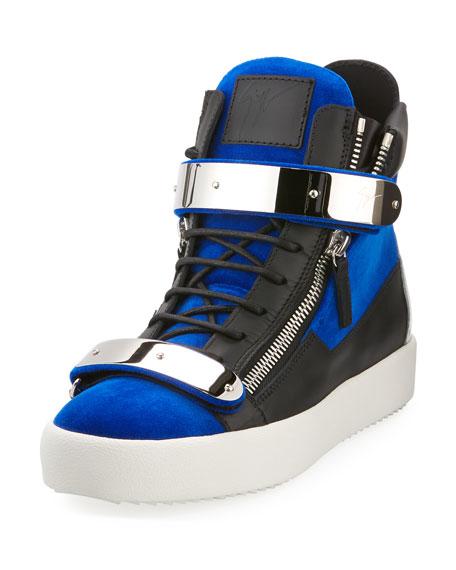 Men's Velvet Double-Bar High-Top Sneakers, Blue