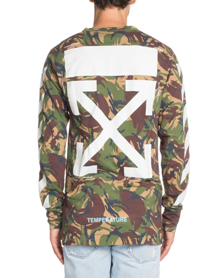 e2c8d81a12ec Off-White Long-Sleeve Camouflage-Print T-Shirt