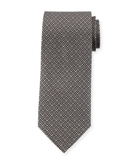 Gancini Pattern Silk Tie