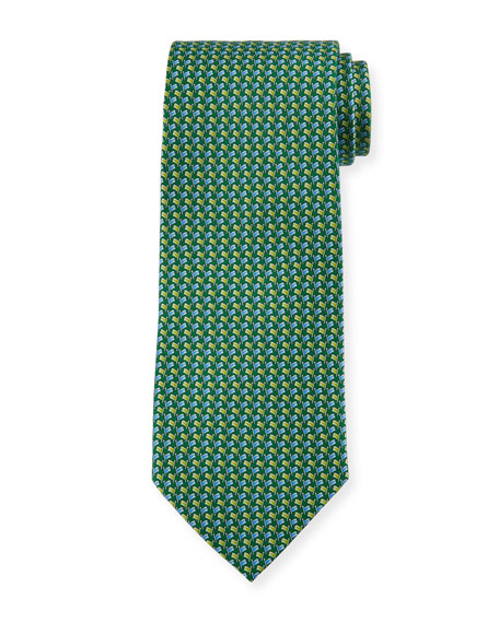 Salvatore Ferragamo Flag-Pattern Silk Tie