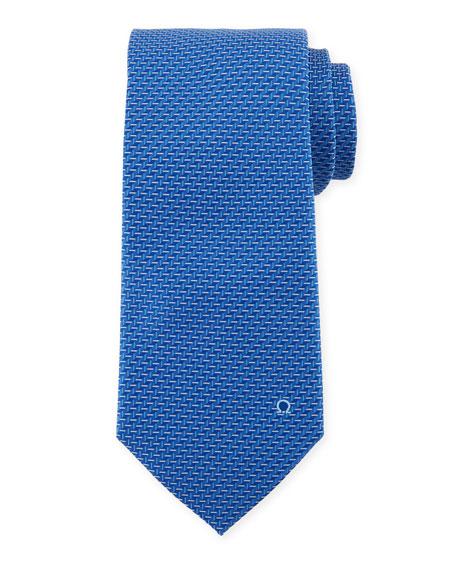 Dash-Print Silk Tie