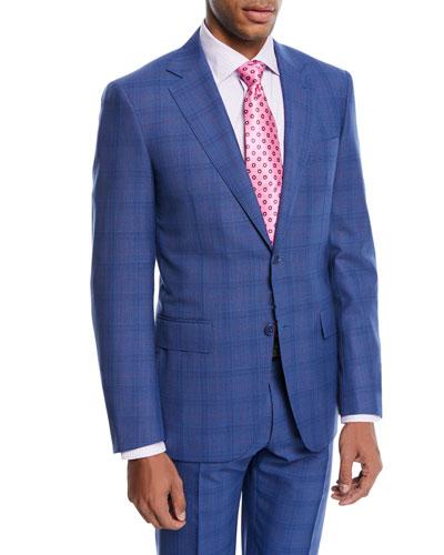 Super 130s Plaid Wool Two-Piece Suit