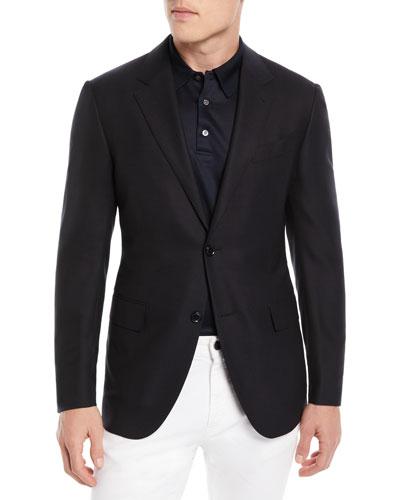Solid Trofeo Wool Two-Button Blazer Jacket