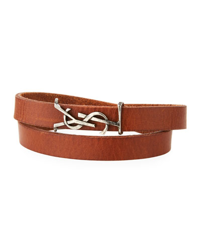 Men's Leather Wrap Bracelet w/ Logo, Dark Brown